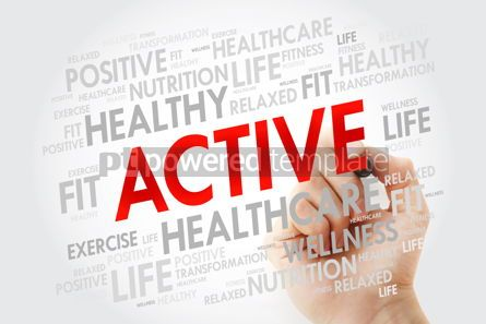 Health: ACTIVE word cloud with marker background health concept #10681