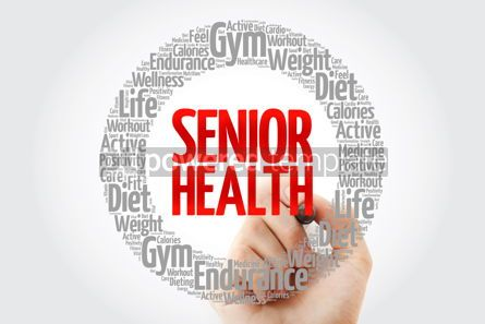 Health: Senior health word cloud with marker health concept #10726