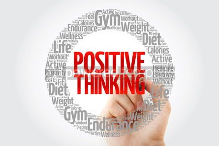 Health: Positive thinking word cloud collage with marker health concept #10729
