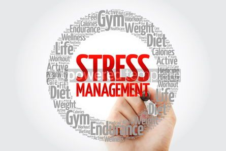 Health: Stress Management word cloud collage with marker health concept #10736