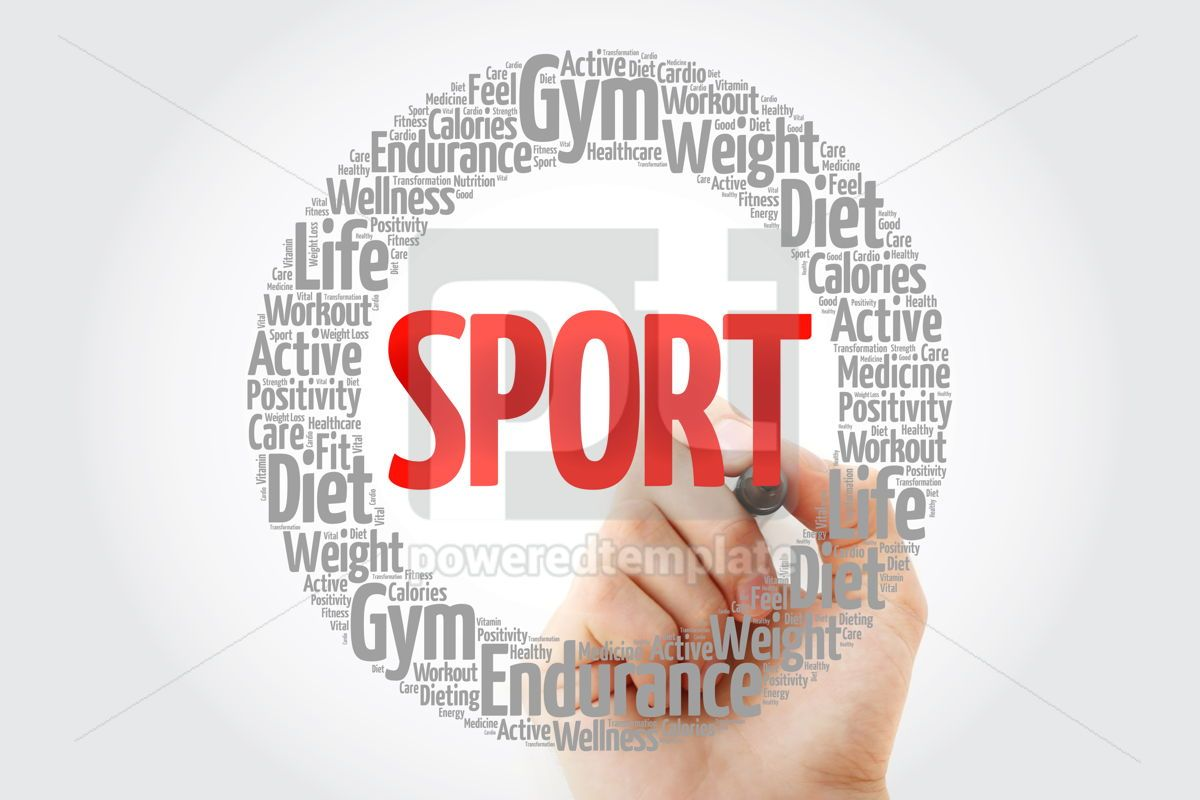 SPORT circle stamp word cloud with marker fitness sport healt, 10750, Health — PoweredTemplate.com