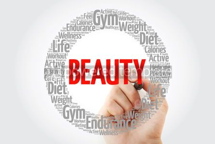 Health: BEAUTY word cloud collage with marker health concept background #10753