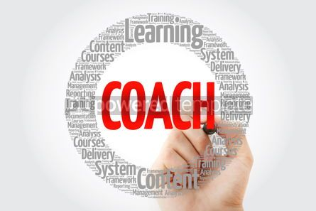 Business: Coach circle word cloud with marker business concept #10760