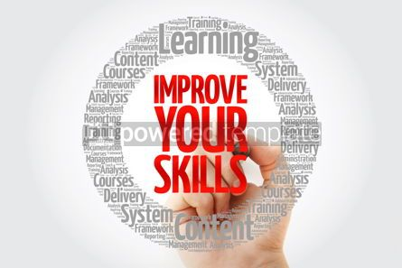 Business: Improve Your Skills circle word cloud with marker #10764