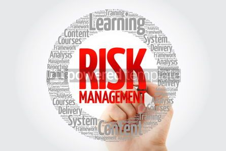 Business: Risk Management circle word cloud with marker business concept #10768
