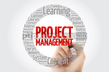 Business: Project Management circle word cloud with marker business conce #10769