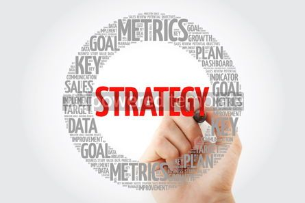 Business: Strategy circle word cloud with marker business concept backgro #10779