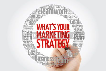 Business: What's Your Marketing Strategy circle word cloud with marker bu #10784