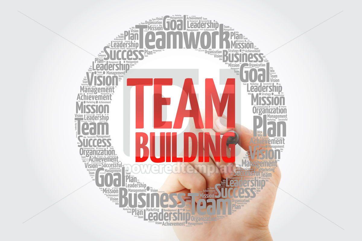 TEAM BUILDING word cloud with marker business concept, 10794, Business — PoweredTemplate.com