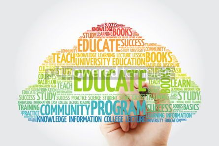 Business: EDUCATE word cloud with marker education concept background #10821
