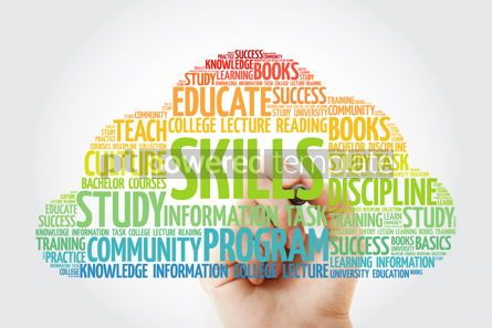 Business: SKILLS word cloud collage with marker education concept backgro #10822