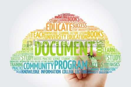 Business: DOCUMENT word cloud with marker business concept #10824