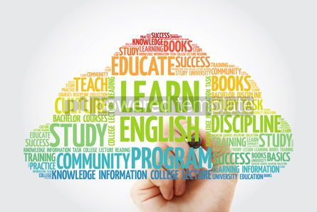 Business: Learn English word cloud collage with marker education concept  #10834