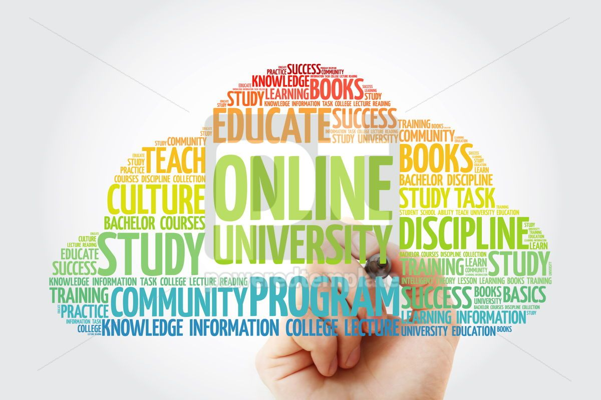 Online University word cloud with marker education concept back, 10836, Business — PoweredTemplate.com