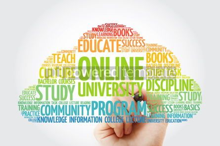 Business: Online University word cloud with marker education concept back #10836