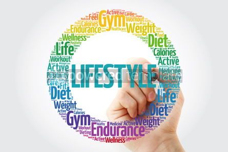 Health: LIFESTYLE word cloud with marker fitness sport health concept #10842