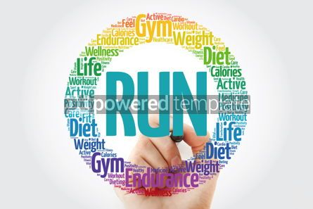Health: RUN word cloud with marker fitness sport health concept backg #10849