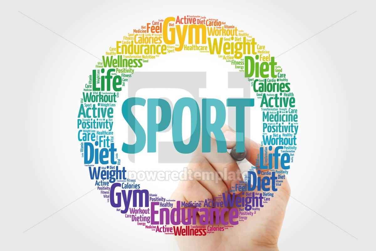 SPORT circle stamp word cloud with marker fitness sport healt, 10850, Health — PoweredTemplate.com