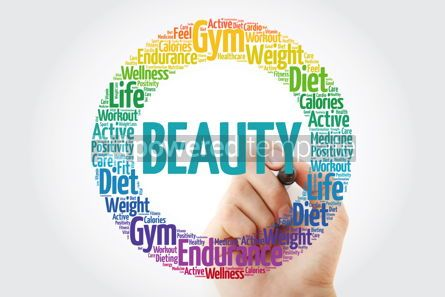 Health: BEAUTY circle stamp word cloud with marker fitness sport heal #10853