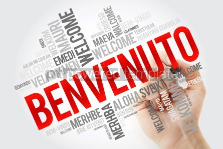Business: Benvenuto (Welcome in Italian) word cloud with marker in differe #10893