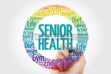 Health: Senior health word cloud with marker social concept background #10896