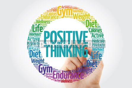 Health: Positive thinking circle word cloud with marker health concept #10898