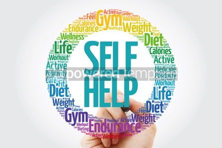 Health: Self Help word cloud collage with marker health concept backgro #10899