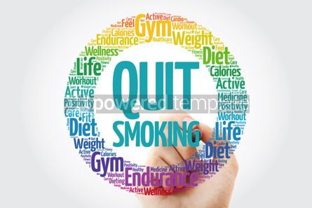 Health: Quit Smoking circle stamp word cloud with marker health concept #10901