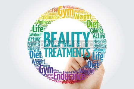 Health: Beauty Treatments circle stamp word cloud with marker health co #10903
