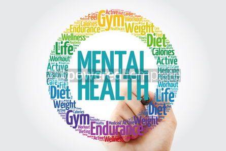 Health: Mental health circle stamp word cloud with marker #10908