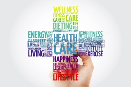 Health: Health care word cloud with marker health cross concept backgro #10913