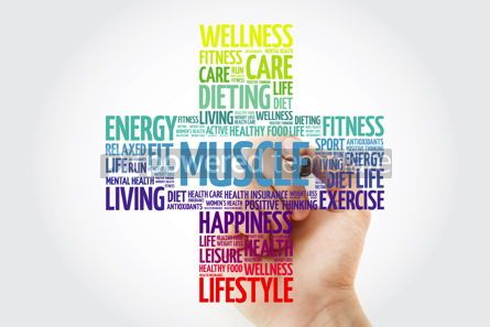Health: Muscle cross word cloud with marker health concept background #10914