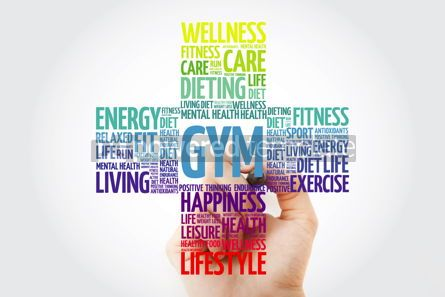 Health: Gym cross word cloud with marker health concept background #10915