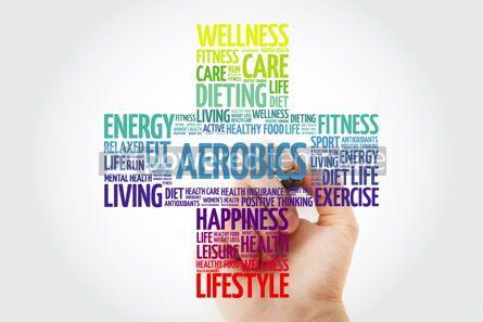 Health: Aerobics word cloud with marker health cross concept #10916