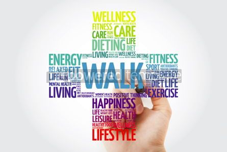 Health: WALK word cloud with marker health cross concept #10918