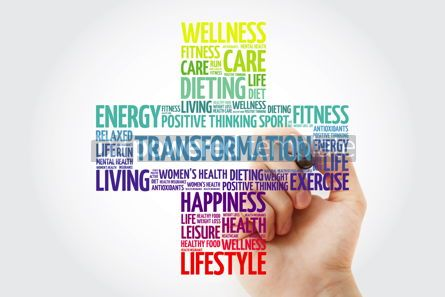 Health: TRANSFORMATION word cloud collage with marker health cross conc #10921