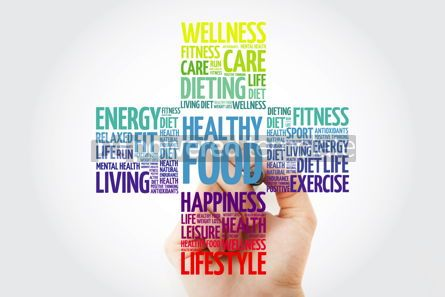 Health: Healthy Food word cloud with marker health cross concept backgr #10922
