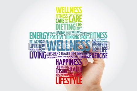 Health: WELLNESS word cloud collage with marker health cross concept #10923