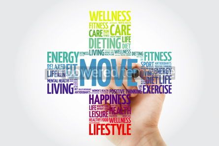 Health: MOVE word cloud collage with marker health cross concept #10925