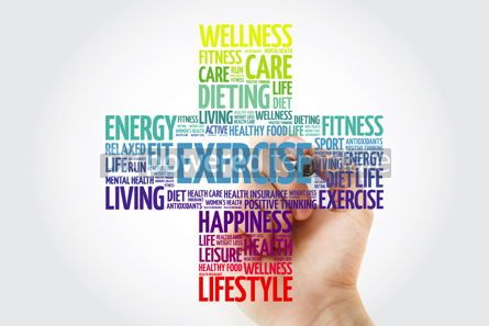 Health: EXERCISE cross word cloud collage with marker health concept ba #10928
