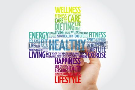 Health: HEALTHY word cloud with marker health cross concept background #10929