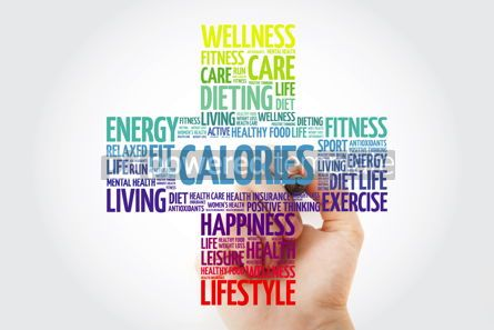 Health: CALORIES word cloud collage with marker health cross concept #10930