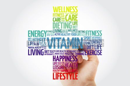 Health: VITAMIN word cloud collage with marker health cross concept #10931