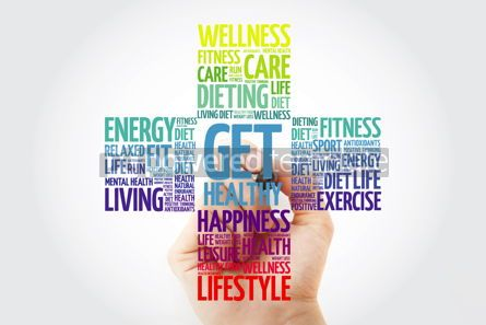 Health: Get Healthy word cloud with marker health cross concept backgro #10932