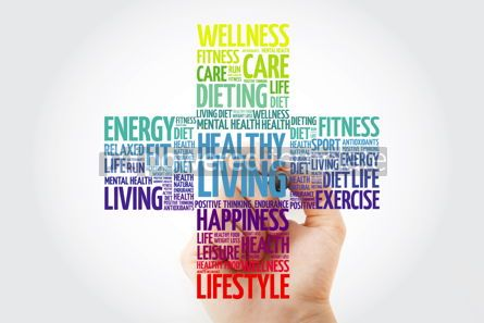 Health: Healthy Living word cloud collage with marker health cross conc #10935
