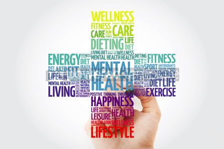 Health: Mental health cross word cloud with marker health concept backg #10938