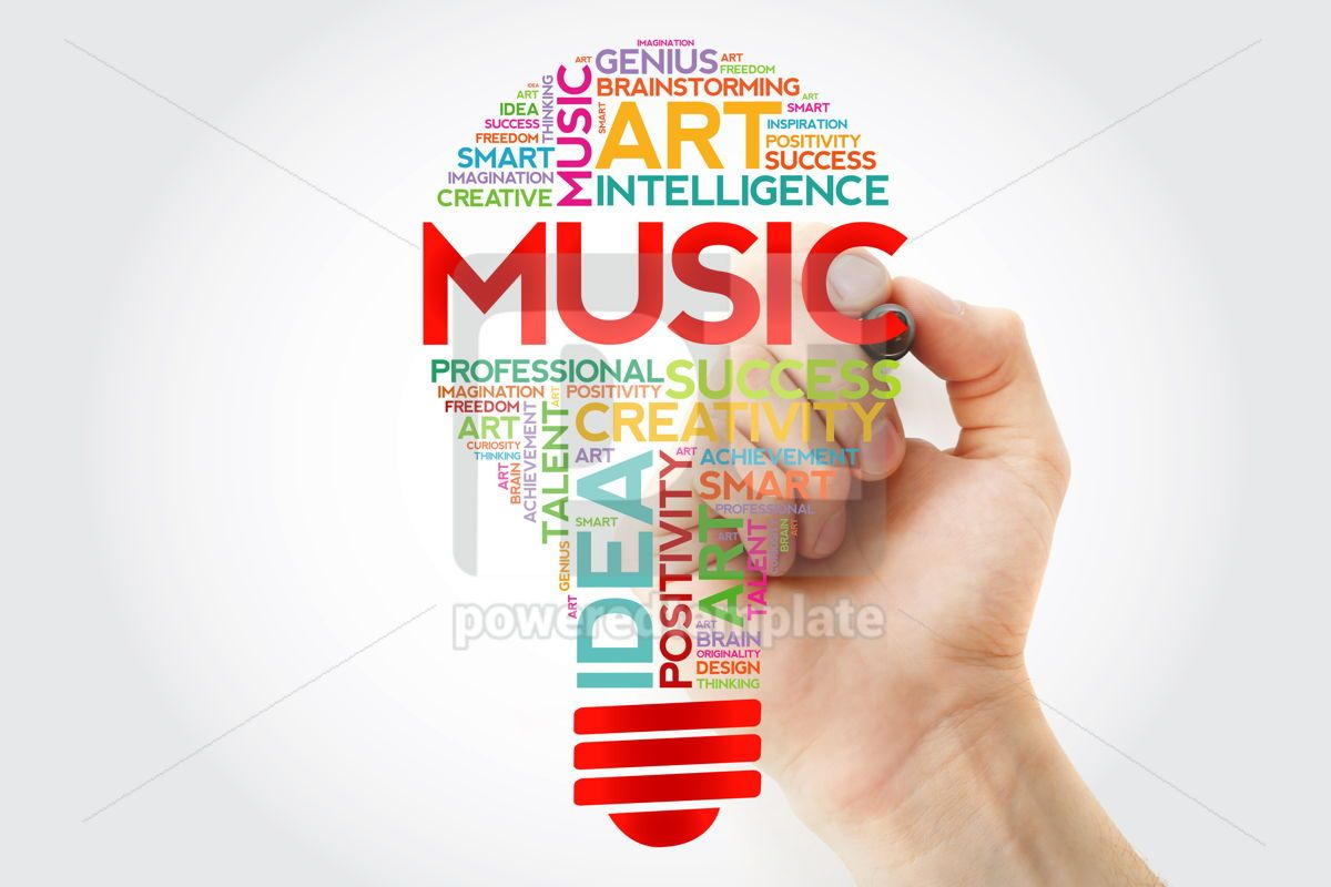Music bulb word cloud with marker concept background, 10948, Business — PoweredTemplate.com