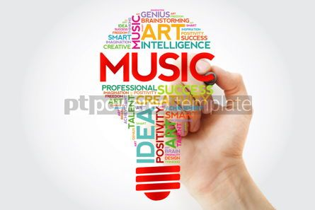 Business: Music bulb word cloud with marker concept background #10948