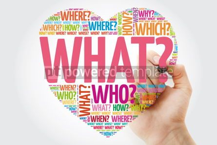 Business: WHAT? Question heart with marker Questions words concept backgr #10956