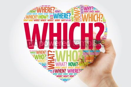 Business: WHICH? Question heart Questions words concept background with m #10959